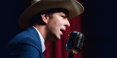 Hugh Harris performs as Hank Williams, Sr., for Lovesick Blues at the Liberty Theatre in Eunice. Photo courtesy of Flickr - CajunZydecoPhotos.
