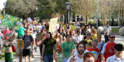 Hundreds march for marijuana legalization in Downtown Lafayette.