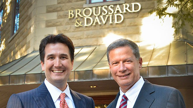 Blake David (left) and Richard Broussard (right) have set up their new law office in Downtown Lafayette.